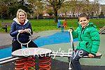 Enjoying the playground in the Tralee town park on Monday, l to r: Dolya and Yuliye Gaidukevich.