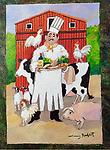 Example<br /> Multiple pets with Chef and background-Acrylic on Canvas