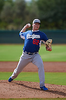 Los Angeles Dodgers pitcher Logan Crouse (62) during an instructional league game against the Cincinnati Reds on October 20, 2015 at Cameblack Ranch in Glendale, Arizona.  (Mike Janes/Four Seam Images)