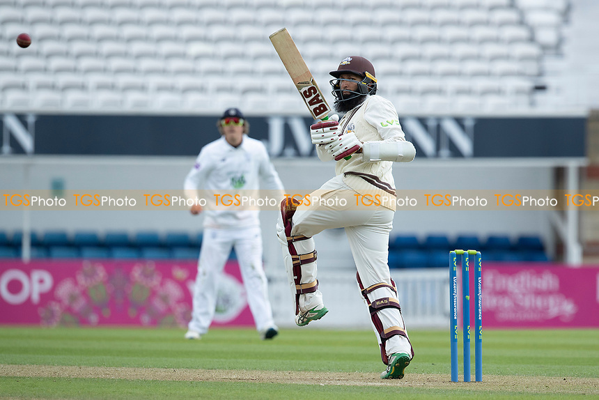 Hashim Amla of Surrey CCC pulls a short delivery behind square during Surrey CCC vs Hampshire CCC, LV Insurance County Championship Group 2 Cricket at the Kia Oval on 30th April 2021