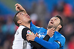 Jorge Molina Vidal of Getafe CF (r) in action against Ruben Miguel Nunes Vezo of Valencia CF during the La Liga 2017-18 match between Getafe CF and Valencia CF at Coliseum Alfonso Perez on December 3 2017 in Getafe, Spain. Photo by Diego Gonzalez / Power Sport Images