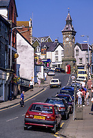 Wales, Knighton.  Broad Street and the 1872 Clock Tower.