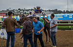 DEL MAR, CA  SEPTEMBER 3: #12 Connie Swingle, ridden by Geovanni Franco, receive congratulations from trainer Phil D'Amato after winning the Generous Portion Stakes on September 3, 2021 at Del Mar Thoroughbred Club in Del Mar, CA.  (Photo by Casey Phillips/Eclipse Sportswire/CSM)