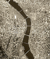 aerial photo map of Portland, Oregon, 1990