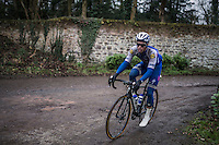 Iljo Keisse (BEL/Etixx-QuickStep) on the Chemin de Wihéries cobble section (Honelles)<br /> <br /> GP Le Samyn 2017 (1.1)