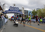 Runners start the Half Marathon portion of the Downtown River Run held in Reno, Nevada  on Sunday April 29, 2018.