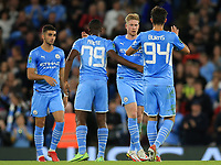 21st September 2021; Etihad Stadium,Manchester, England; EFL Cup Football Manchester City versus Wycombe Wanderers; Kevin De Bruyne of Manchester City celebrates his 29th minute equalising goal with team mates Mbete  and Finley Burns