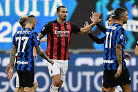 Zlatan Ibrahimovic of AC Milan celebrates after scoring a goal during the Serie A football match between FC Internazionale and AC Milan at stadio San Siro in Milano (Italy), October 17th, 2020. Photo Image Sport / Insidefoto