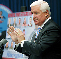 Pennsylvania Attorney General Tom Corbett outlines at a news conference, Thursday, July 10, 2008 in Harrisburg, Pa., criminal charges that are being filed against 12 people in missuse of bonuses for legislative staff. (AP Photo/Bradley C Bower)