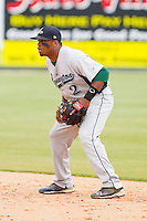 Second baseman Delino DeShields Jr. #2 of the Lexington Legends on defense against the Kannapolis Intimidators at Fieldcrest Cannon Stadium on May 11, 2011 in Kannapolis, North Carolina.   Photo by Brian Westerholt / Four Seam Images