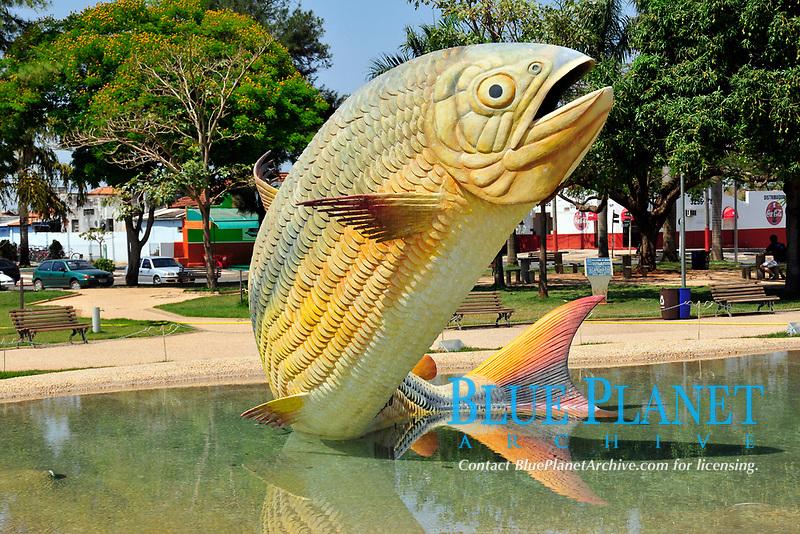 Fountain with statue of a Characin or Piraputanga, Brycon hilarii, in the central square at Bonito, Mato Grosso do Sul, Brazil