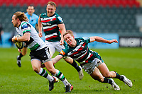 28th March 2021; Mattoli Woods Welford Road Stadium, Leicester, Midlands, England; Premiership Rugby, Leicester Tigers versus Newcastle Falcons; Joel Hodgson of Newcastle Falcons is tackled by Harry Potter of Leicester Tigers