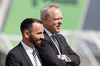 (L-R) Swansea City Club Ambassador Leon Britton with Chairman Trevor Birch watch the game  during the U18 Premier League match between Swansea City and Southampton at Landore Training Ground, Swansea, Wales, UK. Saturday 17 August 2019