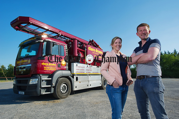 Lynn O Sullivan and Alan Moloney, directors of Clare Drains Environmental Ltd. with their new Recycler Jet Vacuum Unit. Photograph by John Kelly.