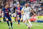 Karim Benzema (r) of Real Madrid in action  during their Supercopa de Espana Final 2nd Leg match between Real Madrid and FC Barcelona at the Estadio Santiago Bernabeu on 16 August 2017 in Madrid, Spain. Photo by Diego Gonzalez Souto / Power Sport Images