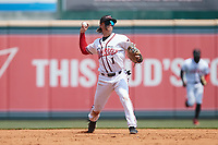 Richmond Flying Squirrels shortstop Simon Whiteman on defense against the Bowie Baysox at The Diamond on July 28, 2021, in Richmond Virginia. (Brian Westerholt/Four Seam Images)