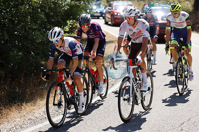 The breakaway during Stage 3 of La Vuelta d'Espana 2021, running 202.8km from Santo Domingo de Silos to Picon Blanco, Spain. 16th August 2021.    <br /> Picture: Luis Angel Gomez/Photogomezsport   Cyclefile<br /> <br /> All photos usage must carry mandatory copyright credit (© Cyclefile   Luis Angel Gomez/Photogomezsport)