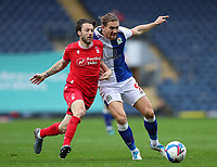 17th October 2020; Ewood Park, Blackburn, Lancashire, England; English Football League Championship Football, Blackburn Rovers versus Nottingham Forest ; Harry Arter of Nottingham Forest and Sam Gallagher of Blackburn Rovers  compete for the ball