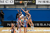 6th June 2021; Ken Rosewall Arena, Sydney, New South Wales, Australia; Australian Suncorp Super Netball, New South Wales, NSW Swifts versus Giants Netball; Samantha Wallace of NSW Swifts takes a shot at goal as Matilda McDonell of Giants Netball attempts to block