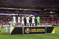 Photo during the awards ceremony after the  match United States vs Colombia Corresponding for third place in the America Cup Centenary 2016 at University of Phoenix Stadium.<br /> <br /> Foto durante la ceremonia de premiacion despues del partido Estados Unidos vs Colombia, Correspondiente por el tercer lugar de la Copa America Centenario 2016, en el Estadio de la Universidad de Phoenix, en la foto: Jugadores de Colombia recibe medalla de tercer lugar <br /> <br /> <br /> 25/06/2016/MEXSPORT/Victor Posadas.