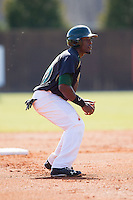 Desmond Roberts (26) of the Charlotte 49ers takes his lead off of second base against the Canisius Golden Griffins at Hayes Stadium on February 23, 2014 in Charlotte, North Carolina.  The Golden Griffins defeated the 49ers 10-1.  (Brian Westerholt/Four Seam Images)