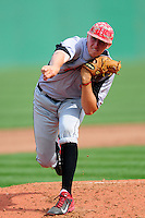 University of Hartford Hawks pitcher Kyle Gauthier (35) delivers a pitch during a game versus the Boston College Eagles at Pellagrini Diamond at Shea Field on May 9, 2015 in Chestnut Hill, Massachusetts.  (Ken Babbitt/Four Seam Images)