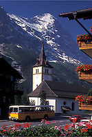 Eiger, Switzerland, Grindenwald, Berne, Bern, Bernese Alps, church, balcony with flowers, mountain, Bernese Oberland.