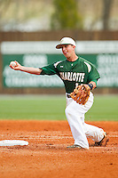 Charlotte 49ers shortstop Justin Roland (16) makes a throw to first base against the Virginia Commonwealth Rams at Robert and Mariam Hayes Stadium on March 30, 2013 in Charlotte, North Carolina.  The 49ers defeated the Rams 9-8 in game one of a double-header.  (Brian Westerholt/Four Seam Images)