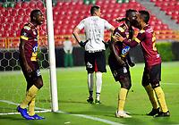 IBAGUE- COLOMBIA, 03-04-2019: Los jugadores Deportes Tolima (COL) celebran el segundo gol anotado a Jorge Wilstermann (BOL), durante partido de la fase de grupos, grupo G, fecha 3, entre Deportes Tolima (COL) y Jorge Wilstermann (BOL), por la Copa Conmebol Libertadores 2019, en el Estadio Manuel Murillo Toro de la ciudad de Ibague. / The players of Deportes Tolima (COL), celebrate the second scored goal to Wilstermannn (BOL), during a match of the groups phase, group G, 3rd date, beween Deportes Tolima (COL) and Jorge Wilstermann (BOL), for the Conmebol Libertadores Cup 2019, at the Manuel Murillo Toro Stadium, in Ibague city.  VizzorImage / Juan Carlos Escobar / Cont.