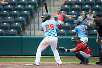 Nellie Rodriguez (25) of the Columbus Clippers at bat against the Indianapolis Indians at Huntington Park on June 17, 2018 in Columbus, Ohio. The Indians defeated the Clippers 6-3.  (Brian Westerholt/Four Seam Images)