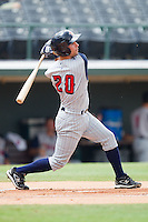 Scott Sizemore #20 of the Toledo Mudhens follows through on his swing against the Charlotte Knights at Knights Stadium August 8, 2010, in Fort Mill, South Carolina.  Photo by Brian Westerholt / Four Seam Images