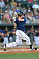 First baseman Dash Winningham (34) of the Columbia Fireflies bats in a game against  the West Virginia Power on Thursday, May 18, 2017, at Spirit Communications Park in Columbia, South Carolina. Columbia won in 10 innings, 3-2. (Tom Priddy/Four Seam Images)