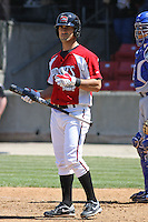 Chris Denove #7 of the Carolina Mudcats at bat during a game against the Chattanooga Lookouts on on May 9, 2010 in Zebulon, NC.