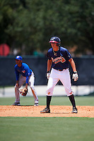 GCL Braves first baseman Griffin Benson (80) leads off second during a game against the GCL Blue Jays on August 5, 2016 at ESPN Wide World of Sports in Orlando, Florida.  GCL Braves defeated the GCL Blue Jays 9-0.  (Mike Janes/Four Seam Images)