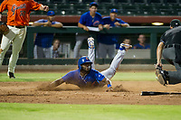 AZL Cubs shortstop Delvin Zinn (21) beats the tag by Ricardo Genoves (not pictured) during a game against the AZL Giants on September 5, 2017 at Scottsdale Stadium in Scottsdale, Arizona. AZL Cubs defeated the AZL Giants 10-4 to take a 1-0 lead in the Arizona League Championship Series. (Zachary Lucy/Four Seam Images)