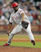 Phillies pitcher Tom Gordon on Thursday May 22nd at Minute Maid Park in Houston, Texas. Photo by Andrew Woolley / Four Seam Images..