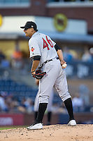 Indianapolis Indians starting pitcher Wilfredo Boscan (46) looks to his catcher for the sign against the Durham Bulls at Durham Bulls Athletic Park on August 4, 2015 in Durham, North Carolina.  The Indians defeated the Bulls 5-1.  (Brian Westerholt/Four Seam Images)