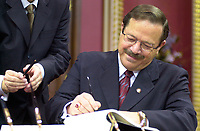 Quebec (QC) CANADA -March 8 2001 file photo - Jacques Brassard Minister the day<br /> Bernard Landry is sworm as Quebec Premier, replacing Lucien Bouchard who also stepped down as PQ leader