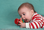 5 month old baby girl closeup, on stomach, grasping toy rattle horizontal