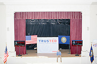 Campaign staffer Blue Hybner sits on the stage before Texas senator and Republican presidential candidate Ted Cruz speaks during a town hall event at Peterborough Town House in Peterborough, New Hampshire, on Sun., Feb. 7, 2016.
