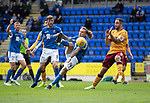 St Johnstone v Motherwell…28.09.19   McDiarmid Park   SPFL<br />Stevie May has a shot at goal<br />Picture by Graeme Hart.<br />Copyright Perthshire Picture Agency<br />Tel: 01738 623350  Mobile: 07990 594431