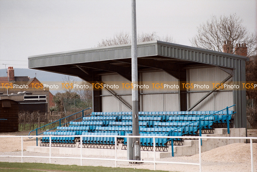 The main stand at Staveley Miners Welfare FC, Inkersall Road, Staveley, Derbyshire, pictured on 9th April 1996
