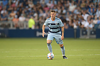 KANSAS CITY, KS - JULY 31: Remi Walter #54 Sporting KC with the ball during a game between FC Dallas and Sporting Kansas City at Children's Mercy Park on July 31, 2021 in Kansas City, Kansas.