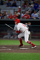 Auburn Doubledays Jake Randa (16) bats during a NY-Penn League game against the Mahoning Valley Scrappers on August 27, 2019 at Falcon Park in Auburn, New York.  Auburn defeated Mahoning Valley 3-2 in ten innings.  (Mike Janes/Four Seam Images)