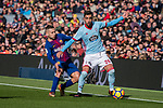 Jordi Alba of FC Barcelona (L) fights for the ball with Brais Méndez Portela of RC Celta de Vigo (R) during the La Liga 2017-18 match between FC Barcelona and RC Celta de Vigo at Camp Nou Stadium on 02 December 2017 in Barcelona, Spain. Photo by Vicens Gimenez / Power Sport Images