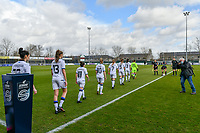 Club Brugge YLA entering the field before a female soccer game between  AA Gent Ladies and Club Brugge YLA on the 16th matchday of the 2020 - 2021 season of Belgian Scooore Womens Super League , saturday 13 th of March 2020  in Oostakker , Belgium . PHOTO SPORTPIX.BE | SPP | STIJN AUDOOREN