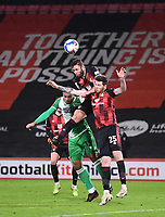 12th January 2021; Vitality Stadium, Bournemouth, Dorset, England; English Football League Championship Football, Bournemouth Athletic versus Millwall; Steve Cook of Bournemouth rises highest to win the header