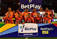 ENVIGADO - COLOMBIA, 06-11-2020: Jugadores de Envigado F. C., posan para una foto, antes de partido entre Envigado F. C., y La Equidad de la fecha 18 por la Liga BetPlay  DIMAYOR 2020, en el estadio Polideportivo Sur de la ciudad de Envigado. / Players of Envigado F. C., pose for a photo, prior a match between Envigado F. C., and La Equidad of the 18th date  for the BetPlay DIMAYOR League 2020 at the Polideportivo Sur stadium in Envigado city. Photo: VizzorImage / Luis Benavides / Cont.