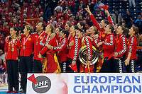BELGRADE, SERBIA - DECEMBER 16: Montenegro handball team listen national anthem during the Women's European Handball Championship 2012 medal ceremony at Arena Hall on December 16, 2012 in Belgrade, Serbia. (Photo by Srdjan Stevanovic/Getty Images)