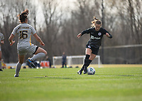 LOUISVILLE, KY - MARCH 13: Lauren Milliet #2 of Racing Louisville FC maneuvers the ball during a game between West Virginia University and Racing Louisville FC at Thurman Hutchins Park on March 13, 2021 in Louisville, Kentucky.